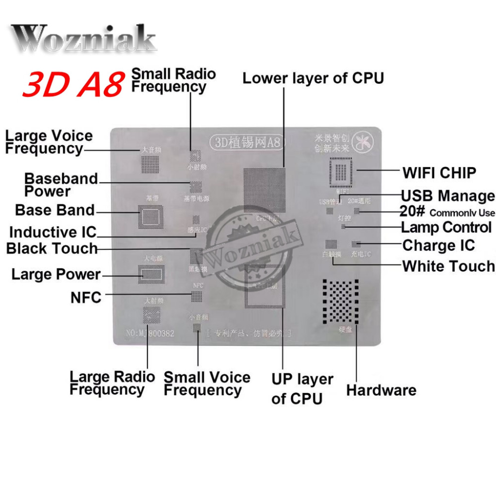 imágenes para MJ 3D A8 A9 A10 BGA Reball stencil SPlus de hojalata para el iphone 6 7G series