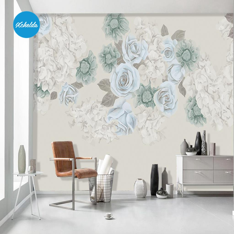 XCHELDA Custom 3D Wallpaper Design Green R Flower Photo Kitchen Bedroom Living Room Wall Murals Papel De Parede Para Quarto kalameng custom 3d wallpaper design street flower photo kitchen bedroom living room wall murals papel de parede para quarto