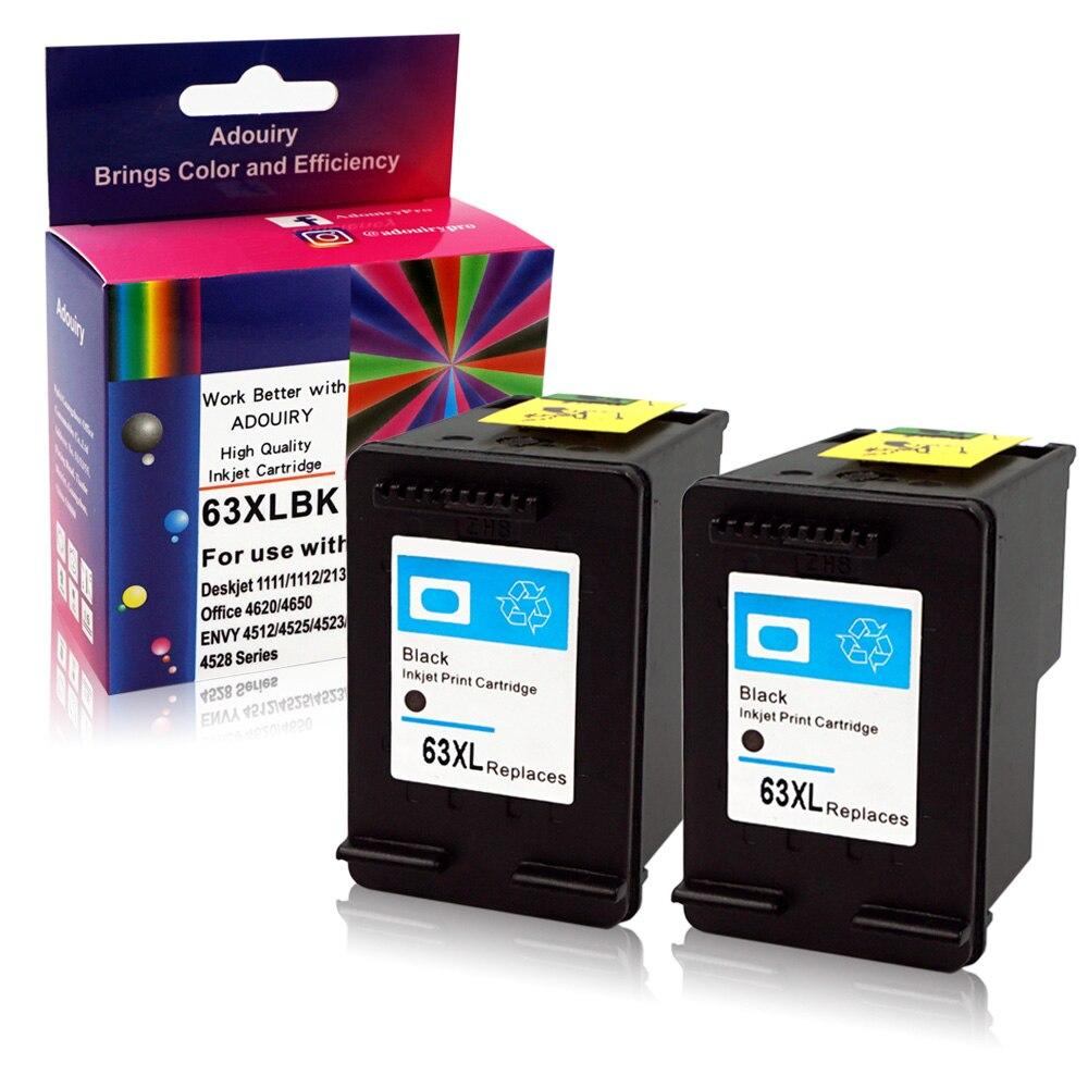 2 Pack Black Ink For HP 63XL 63 Envy 4512 4516 4520 OfficeJet 3830 4650 4652