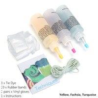Kiwarm Лидер продаж 3 цвета один шаг Tie Dye Kit активированный краситель с резинки Прихватки для мангала Ткань Текстиль постоянный краски DIY Craft
