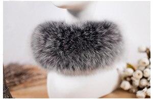 SCM043 шарф из лисьего меха шарфы-повязки на шею теплая накидка шаль-пончо снуд много цветов 57*12 см - Цвет: black with frost