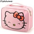 Hello Kitty Mujer Bolsas de Cosméticos Neceser de Viaje de Dibujos Animados Patrón de la Letra Necesario Organizador Bolsa de Almacenamiento de Bolsa de Maquillaje de Belleza TS105