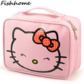 Hello Kitty Woman Cosmetic Bags Cartoon Travel Toiletry Letter Pattern Necessary Organizer Makeup Bag Storage Beauty Bag TS105