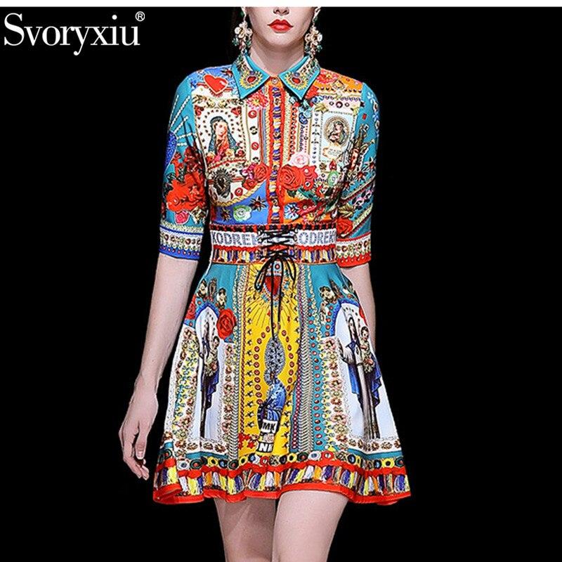 Svoryxiu printemps été piste Mini robe femmes mode 3/4 manches lettre Madonna fleur imprimer mince ceinture robes Vestdios-in Robes from Mode Femme et Accessoires    1