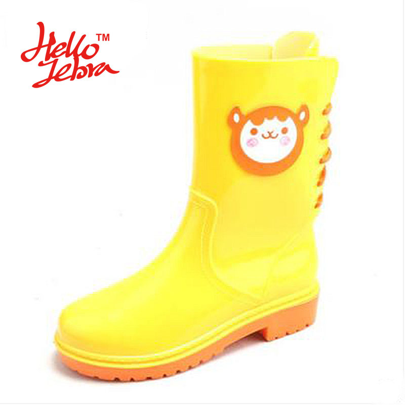 Hellozebra Women Fashion Rain Boots Ladies Back Lace Up Animal Prints Rubber Flat Heels Mid-Calf Waterproof PVC Charm Rainboots hellozebra women rain boots lady low heels solid plain elatic waterproof welly buckle nubuck rainboots 2016 new fashion design