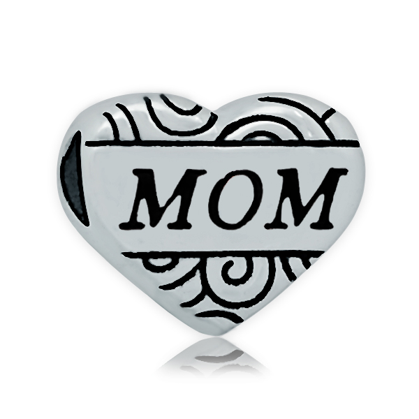 Grace Moments 5pcs 13*16mm Big Hole Stainless Steel Beads 11*13mm Heart Message Family Member Aunt Mama Sister DIY Charm Jewelry