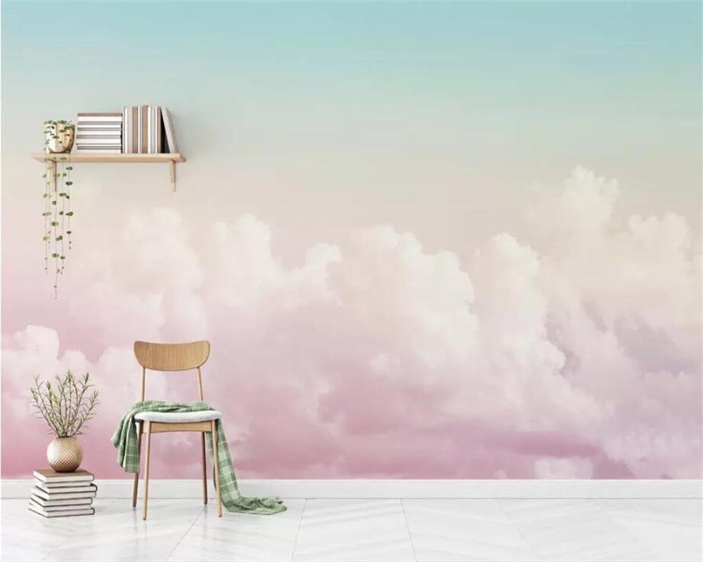 7 7 44 De Réduction Beibehang Papier Peint Personnalisé 3d Photo Peintures Murales Beau Ciel Rose Nuage Canapé Fond Papier Peint Salon Peinture