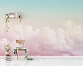 Niestandardowa tapeta beibehang 3D fototapety piękne różowe niebo chmura sofa tło tapeta salon malarstwo dekoracyjne tanie i dobre opinie NONE CN (pochodzenie) USD rolka Tapeta z włókna drzewnego PRINTED DLA DZIECI Papieru tapety do nauki Pokój dziecięcy