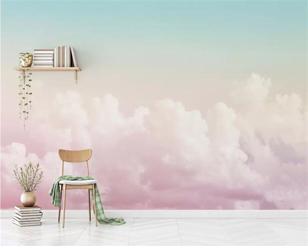 Beibehang Custom Wallpaper 3D Photo Murals Beautiful Pink Sky Cloud Sofa Background Wall Paper Living Room Decorative Painting