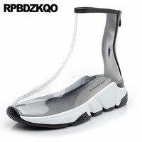 harajuku wedge booties sneakers women ankle boots medium heel waterproof shoes rain muffin flatform creepers black transparent
