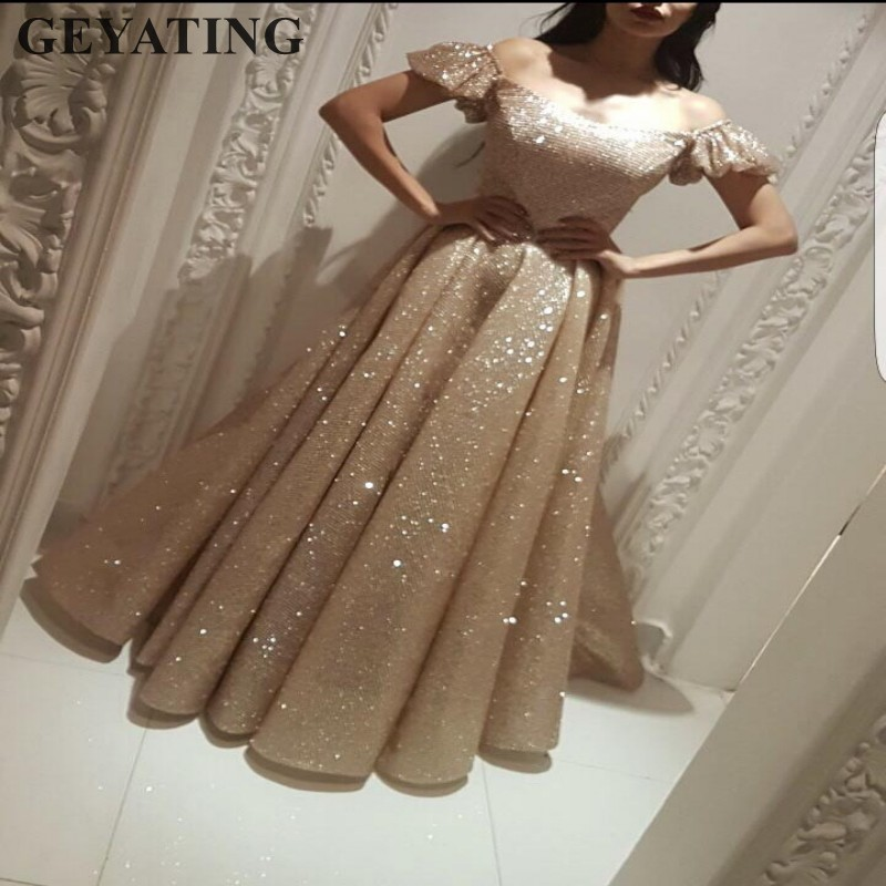 US $149 25 25% OFF|Sparkly Rose Gold Sequins Yousef Aljasmi Evening Dresses  Dubai Saudi Arabia Prom Dress with Sleeves 2019 Long Formal Party Gowns-in