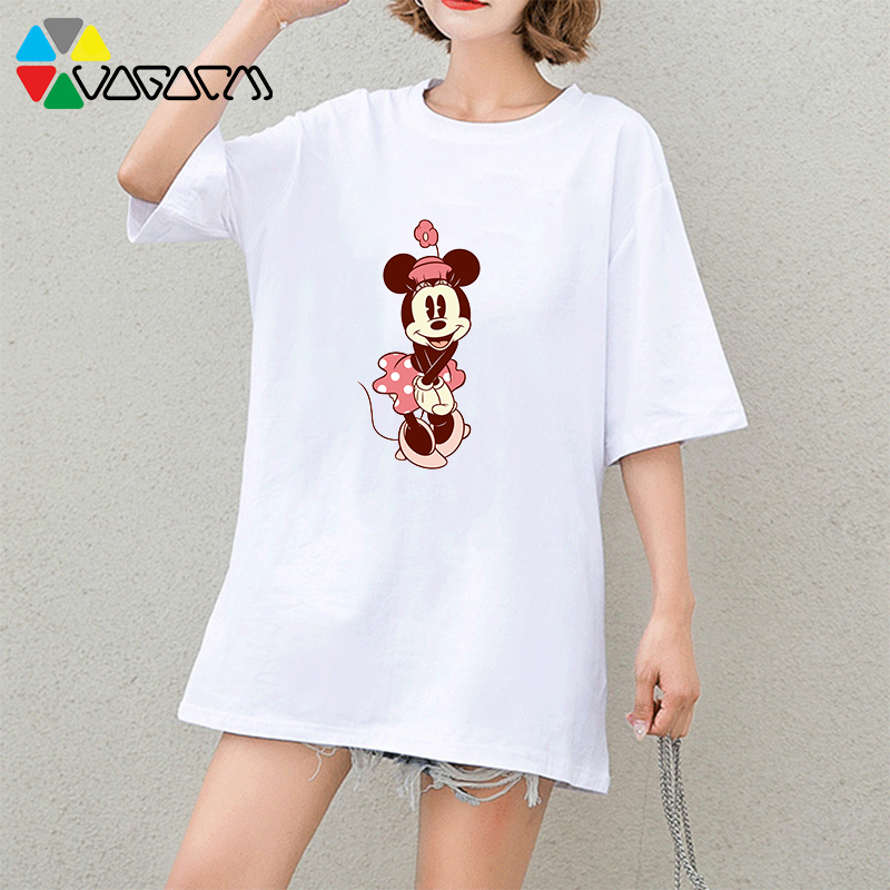 2019 Minnie Print T Shirt Casual Loose Summer Mickey Mouse Short Sleeve Cute Plus Size Party Club Harajuku Mickey Tops amp tees in T Shirts from Women 39 s Clothing