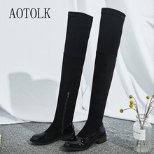 купить Women High Boots Over The Knee Brand Winter  Shoes Female Boots Black Mirror Zip Round Toe Women Shoes Casual Shoes DE дешево