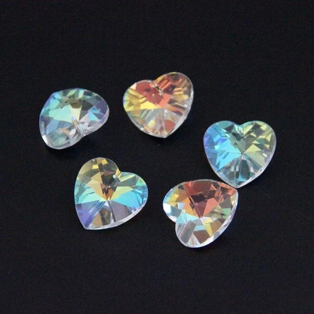 14 мм AB 100 шт в форме сердца, со стразами 1 отверстие стекло DIY свободные бусины стеклянная подвеска