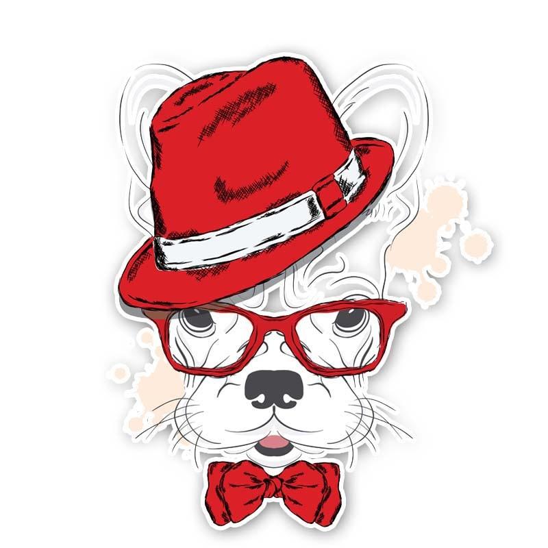 11.1cm*13.6cm A Dog With A Hat Originality Pvc Car Sticker Decal 12-300214