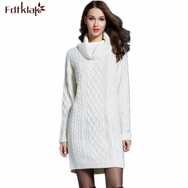 Black/White 2017 New High Qulaity Women's Autumn Sweater Long Sleeve Knitted Pullover Sweater Turtleneck Long Sweater Q226