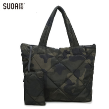 hot deal buy suoai 3in1 women handbag soft winter bag women's waterproof shoulder casual totes purse high quality oxford feather bag