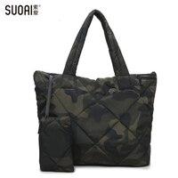 SUOAI 3In1 Women Handbag Soft Winter Bag Women's Waterproof Shoulder Casual Totes Purse High Quality Oxford Feather Bag