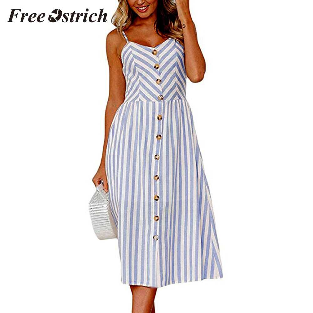 Free Ostrich 2019 Women Sexy Stripe Buttons Off Shoulder Sleeveless Dress Princess Dress Fresh Strappy Navy Style Fashion Dress