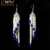 Dangling Tassel Shape White Gold Plated CZ Diamond Pave Long Chandelier Drop Pearl Earrings Jewelry For