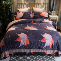 Luxury Egyptian Cotton Maple leaves Bedding Set Queen King size 3d Bedding Bohemia Bed set Duvet Cover Bed sheet set Pillowcases