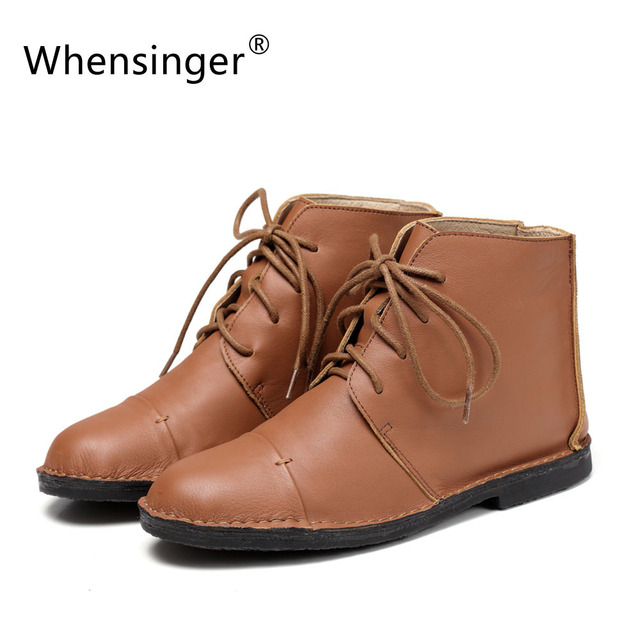 Whensinger - 2018 Women Boots Female Full Grain Leather Ankle Lace-Up Shoes Vintage Handmade Elegant X1501