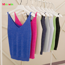 2017 Sexy Knitted candy color Tank Tops Women Gold Thread Top Vest Sequined V Neck Blusa Solid Silver Camis Fitness Sweater