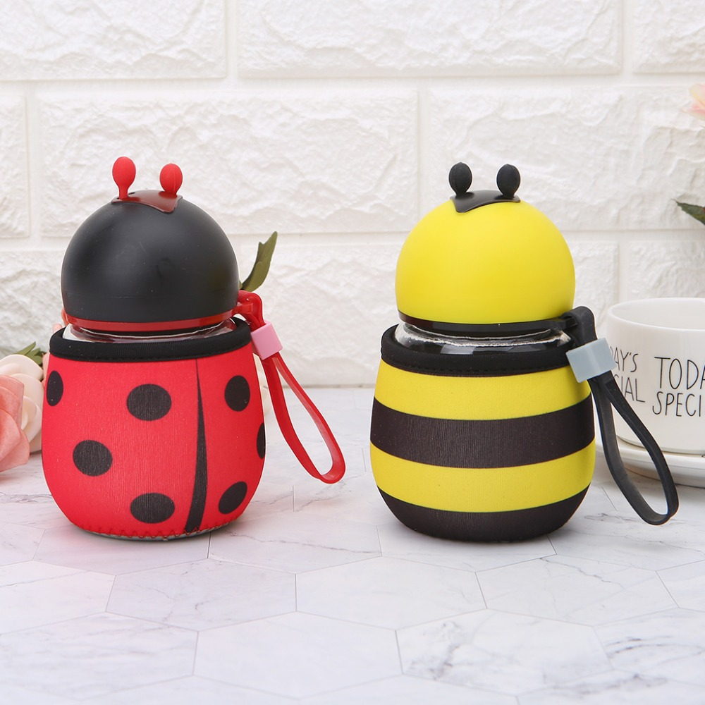OOTDTY Creative Protable Bee Ladybug Water Bottles Glass Drink Bottle 300ml Outdoor Kids Gift