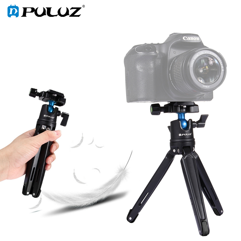 PULUZ poche Mini support de trépied de bureau en métal avec tête à bille 360 degrés pour Canon Nikon DSLR appareil photo numérique téléphone Mobile GoPro