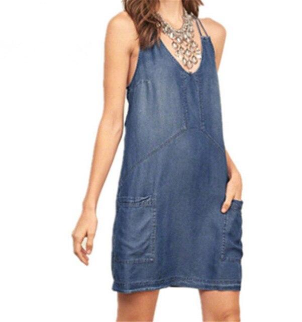 c0255720c7 2017 new casual jeans sundress sexy women strappy denim dress vestidos  feminina summer streetwear blue denim dresses plus size