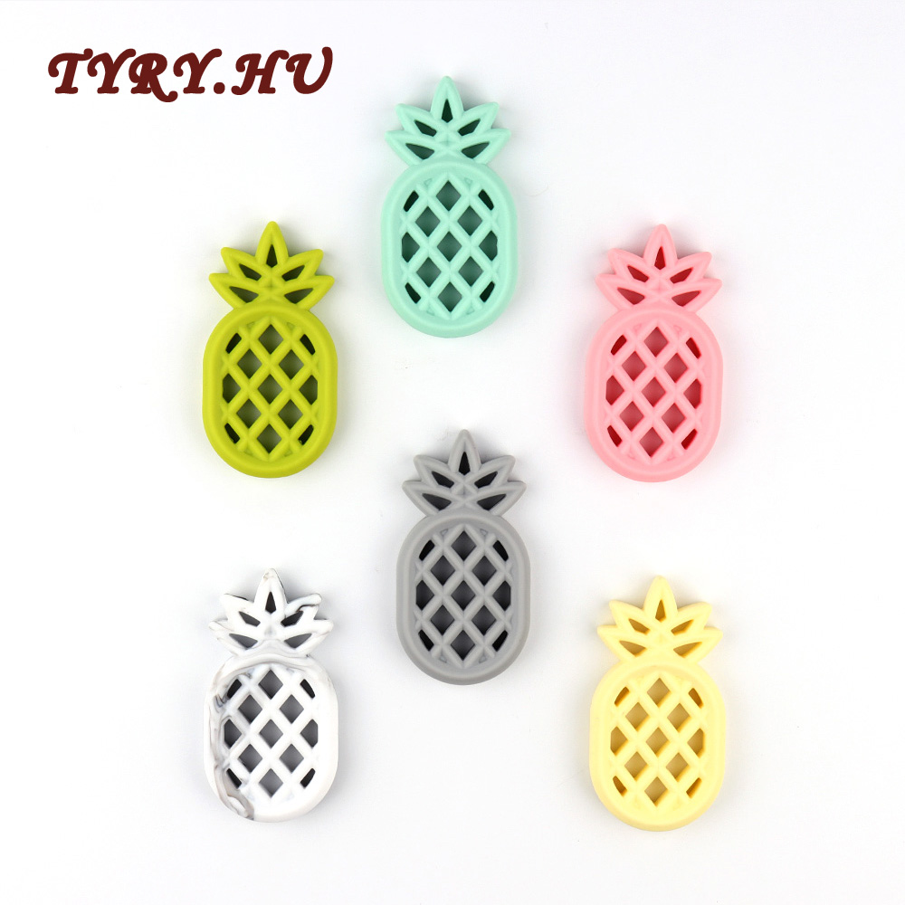 TYRY HU 10PCS Silicone Teether Pineapple Babies Teething Pendant Nursing Soft Silicone Beads Toys For Nursing