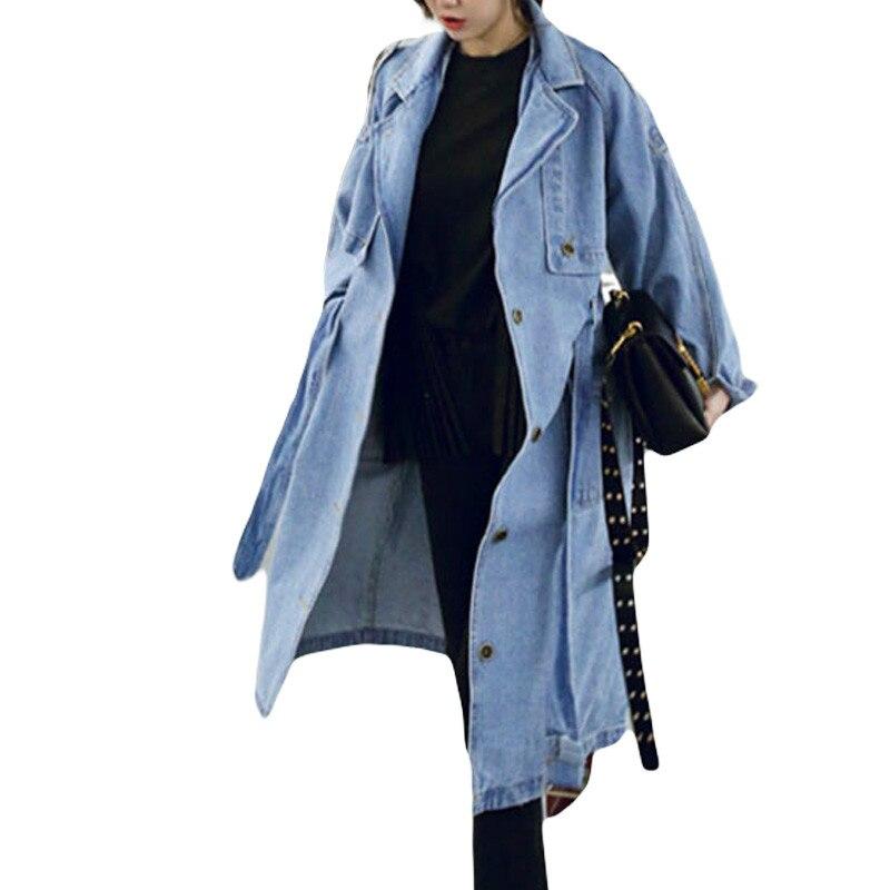 2019 Spring Autumn Adjustable Waist Denim Coat Women Casual Loose X-Long Denim   Trench   Coat Female Denim Overalls Plus Size