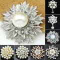 Alloy Flower Faux Pearls Brooch Crystal Pin Brooches Wedding Party Jewelry Gift