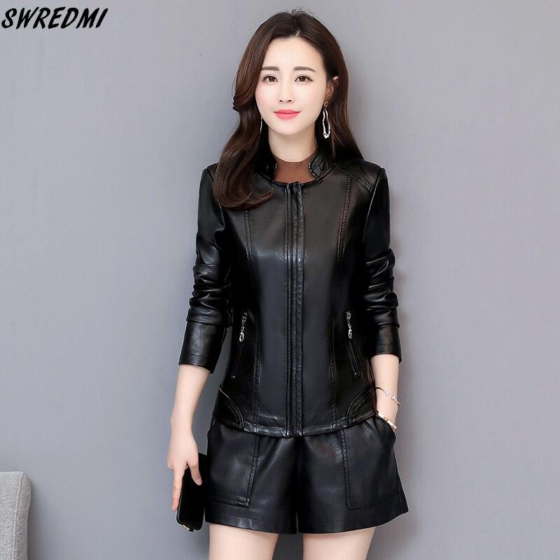 SWREDMI 2019 Spring   Leather   Clothing Women Plus Size 4XL   Leather   Coat Female Slim Casual   Leather   Jacket Autumn For Lady