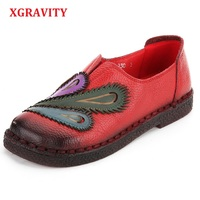 XGRAVITY Hot Sale Size 35 41 Lady Genuine Leather Ethnic Hand Made Woman Shoes Elegant Soft