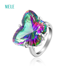 MELE Natural mystic quarts silver ring, rainbow crystal in butterfly shape 16mm*21mm, vivid and lovely silver ring