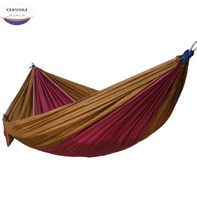 Camping Hammock Double Camp Hammock With Tree Rope And 4 Carabiners,Portable Lightweight Nylon Fabric For Backyard