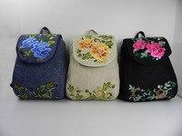 Women Handmade Embroidery Linen Backpack Ethnic Vintage Bagpack National New Grace Girl Elegant Casual Travel School 19 Hand Bag