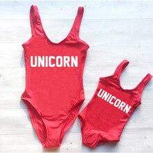 One Piece Swimsuit UNICORN Baby Backless Swimwear Women Parent-Child Swim Suit Girl maillot de bain femme Print Letter Monokini