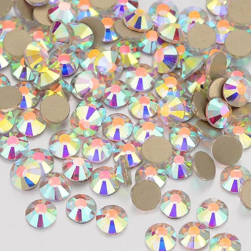 Ювелирные изделия бусины ослепительный кристалл AB не горячей фиксации стекло золото FlatBack Стразы для дизайна ногтей бусины украшения браслета