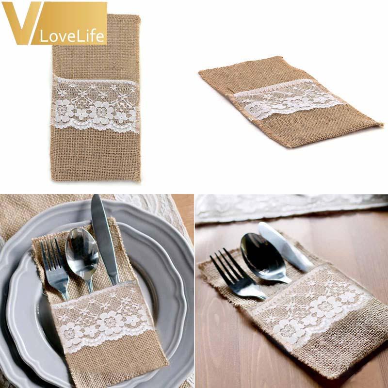 100pcs Burlap Lace Cutlery Pouch wedding Tableware Party decoration holder Bag Hessian Rustic Jute 4 x