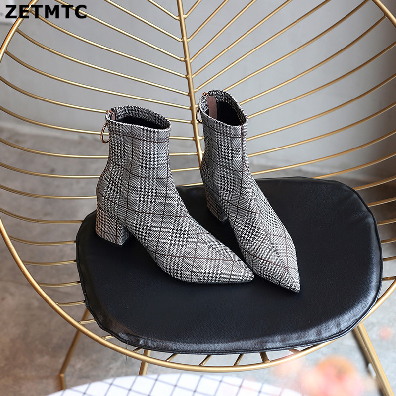 ZETMTC2018 autumn and winter new knitted elastic socks boots solid high-heeled ankle boots ladies pointed zipper ankle boots