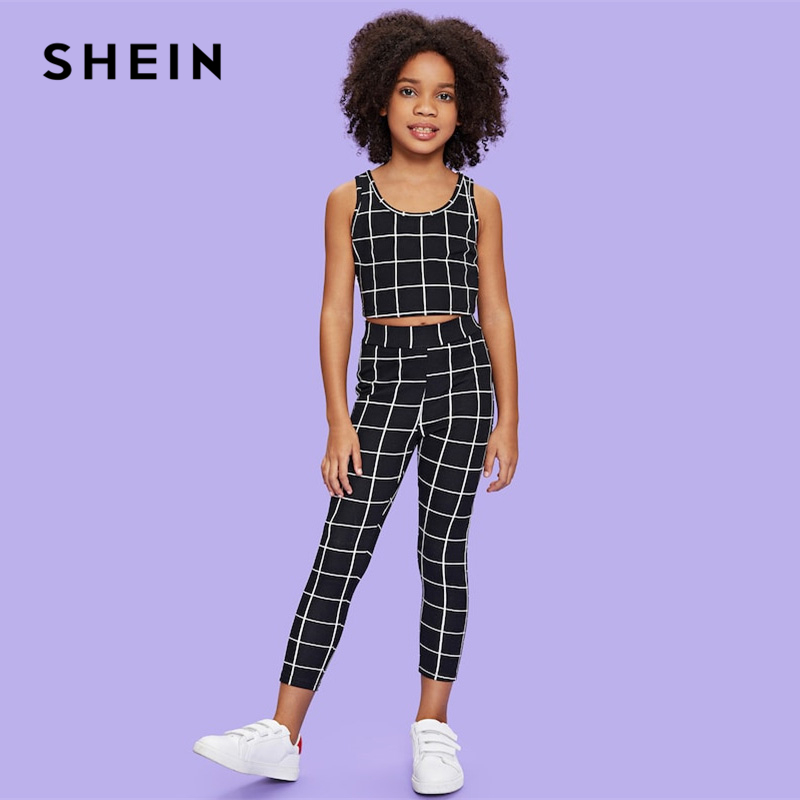 Фото - SHEIN Kiddie Black Scoop Neck Plaid Tank Top And Pants Girls Clothing Two Piece Set 2019 Summer Fashion Sleeveless Kids Clothes v neck fringe tape trim top
