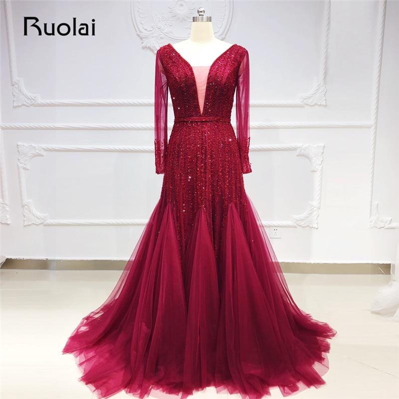 Burgundy Mermaid   Evening     Dresses   Long Sleeve V Neck Luxury Beaded Formal   Evening   Gown Prom   Dress   2019 Vestido de Festa SN28