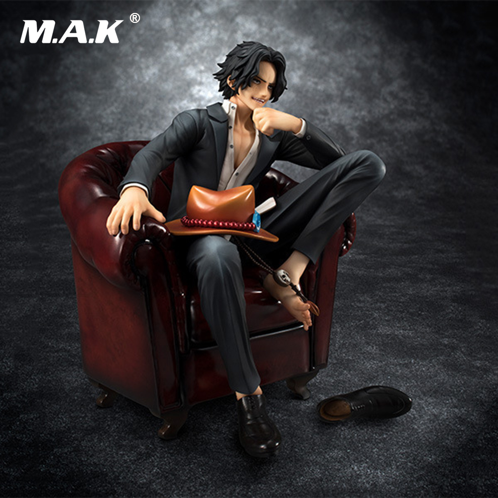Gift for Kids One Piece 18CM PVC Sofa Portgus.D.Ace Anime Action Figure Model Toys Collection with Box 12cm one piece silvers rayleigh anime action figure pvc new collection figures toys collection for christmas gift with box