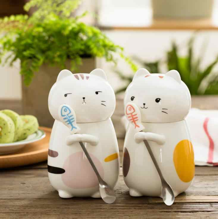 high quality Japanese style 400ml different type cat ceramic cups creative ceramic cup with 304 stainless steel spoon and cover