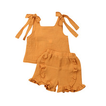 1-6T Cute Toddler Baby Girl Cotton Linen Outfits Solid Straps Tops Elastic Waist Ruffle Shorts 2Pcs Sets Casual Summer Clothes
