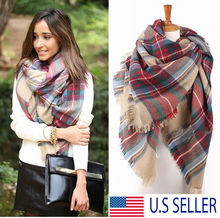 Women Scarf Wraps Shawl Oversized Tartan Scarf Wrap Plaid Cozy Pashmina Women Hot 2016 New Blanket