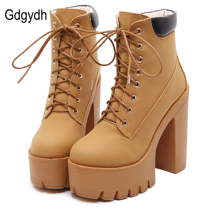 Gdgydh Fashion Spring Autumn Platform Ankle Boots Women Lace Up Thick Heel Platform Boots Ladies Worker Boots Black Size 35-40