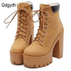 Gdgydh Fashion Spring Autumn Platform Ankle Boots Women Lace Up Thick Heel Platform Boots Ladies Worker Boots Black Big Size 42